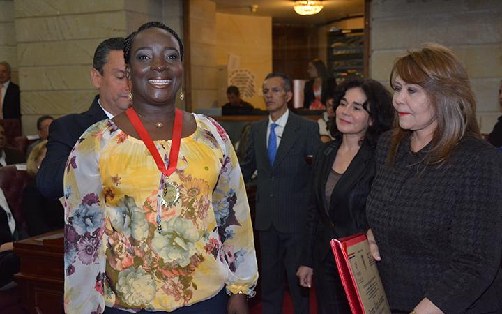 Jenny Nair Gómez, en el salón Boyacá del Capitolio Nacional
