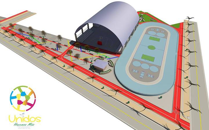 Complejo deportivo que consta de cancha polifuncional y patinódromo.