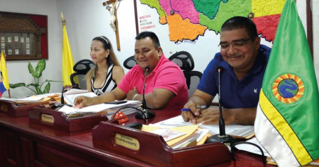 Mesa Directiva Asamblea Departamental del Amazonas 2018. Preside Camilo Suárez, primera vicepresidenta Mónica Karina Bocanegra, segundo videpresidente Giraldo Alvear.
