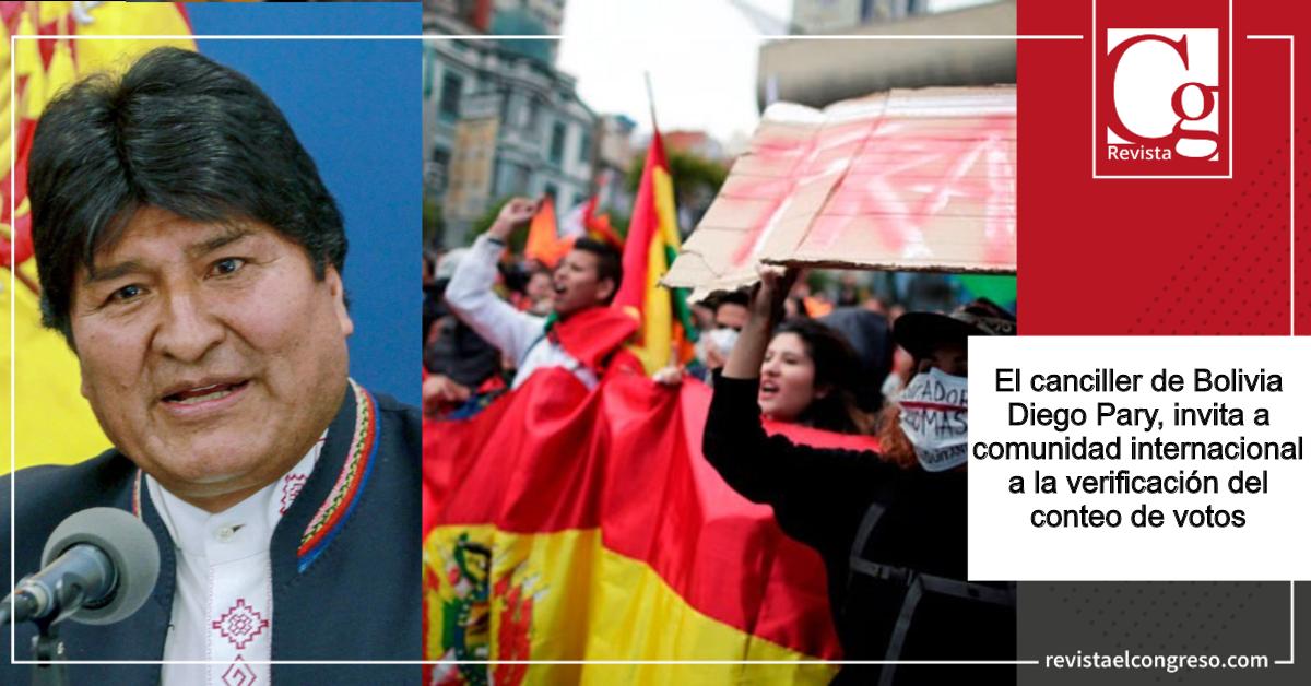 Bolivia invita a comunidad internacional a verificar resultado electoral
