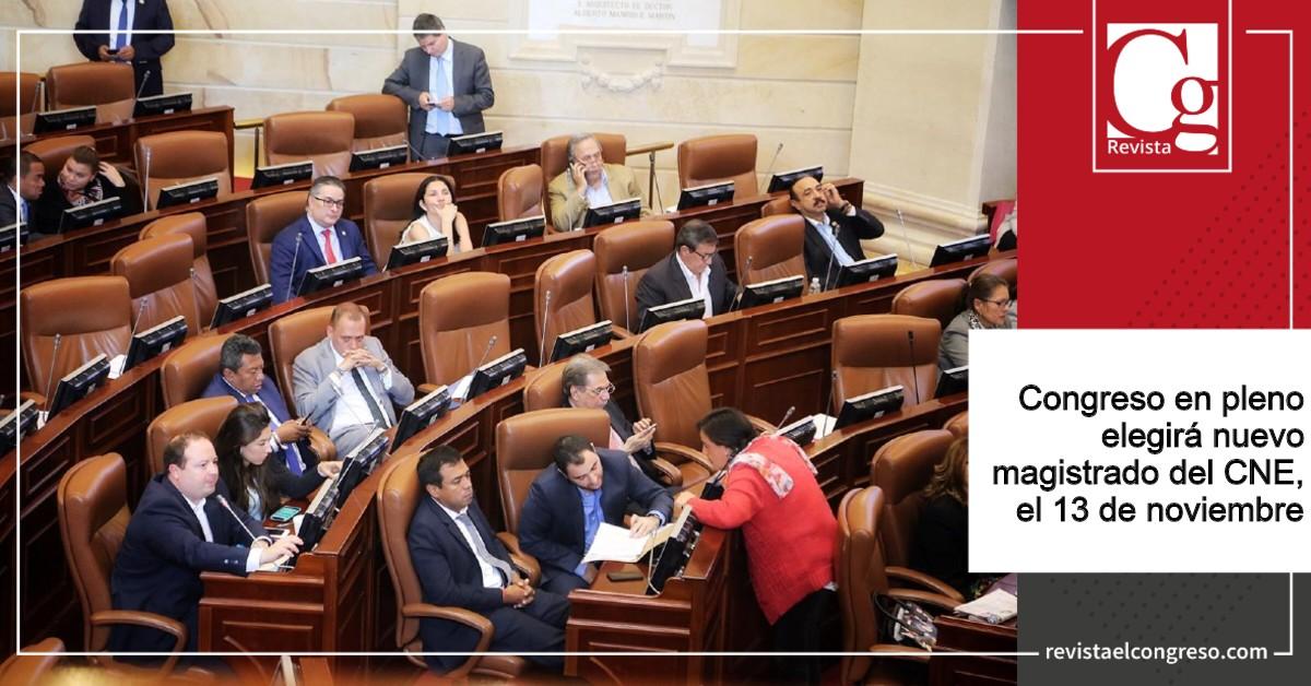 Congreso en pleno elegirá nuevo magistrado del CNE, el 13 de noviembre