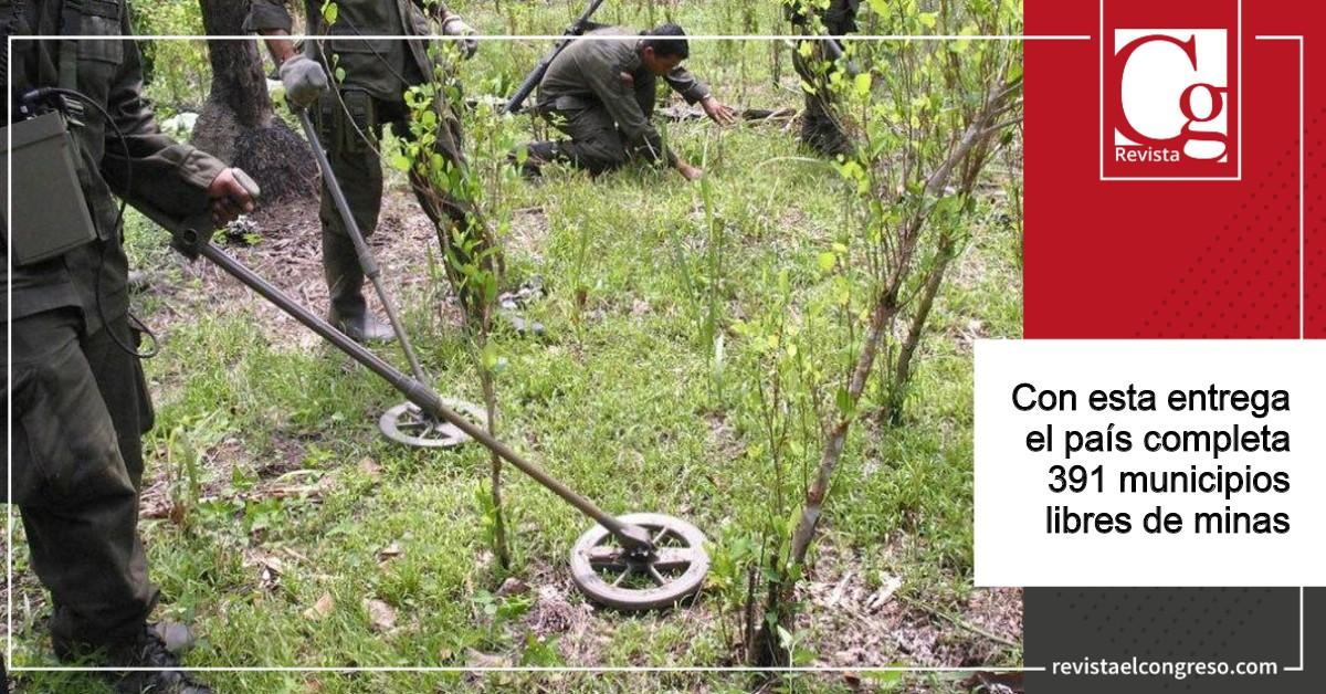 Gobierno certifica 38 municipios libres de minas antipersonal