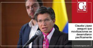 Claudia López aseguró que movilizaciones se desarrollaron pacíficamente