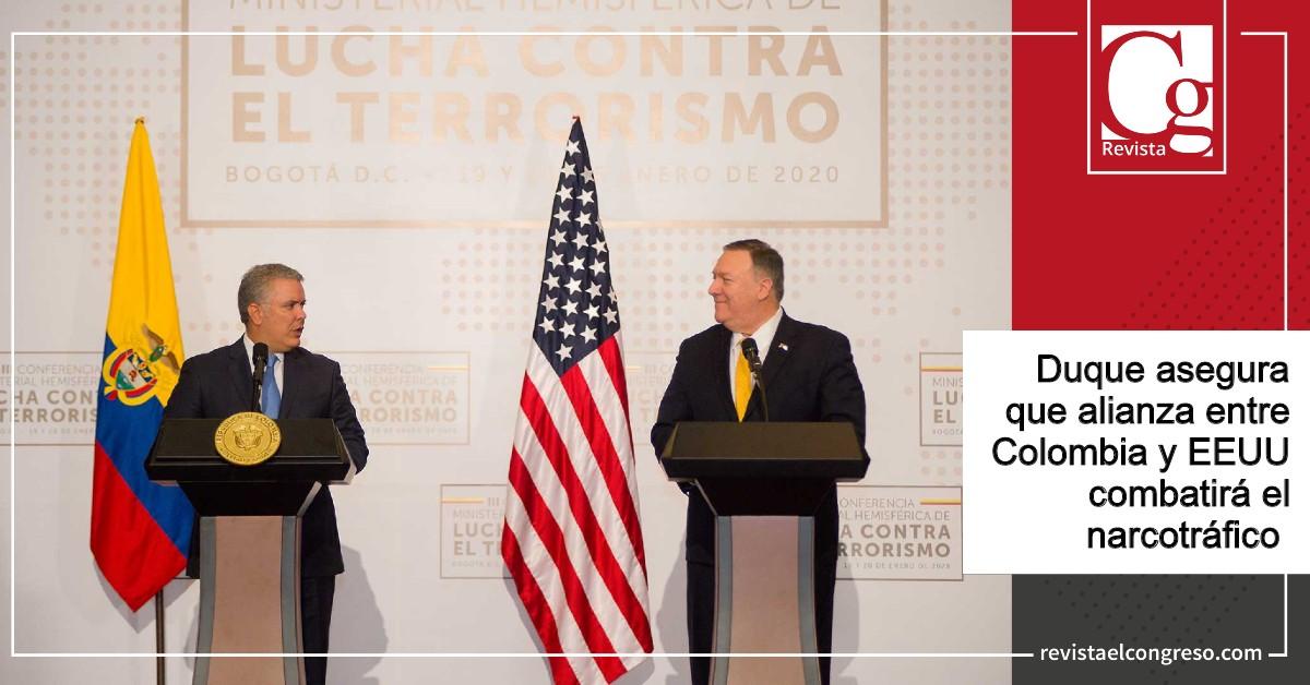 Duque asegura que alianza entre Colombia y EEUU combatirá el narcotráfico