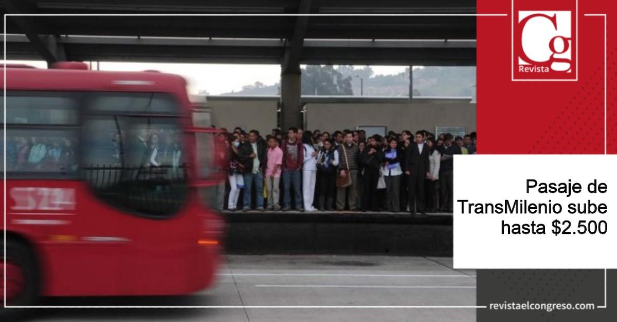 Pasaje de TransMilenio sube hasta $2.500