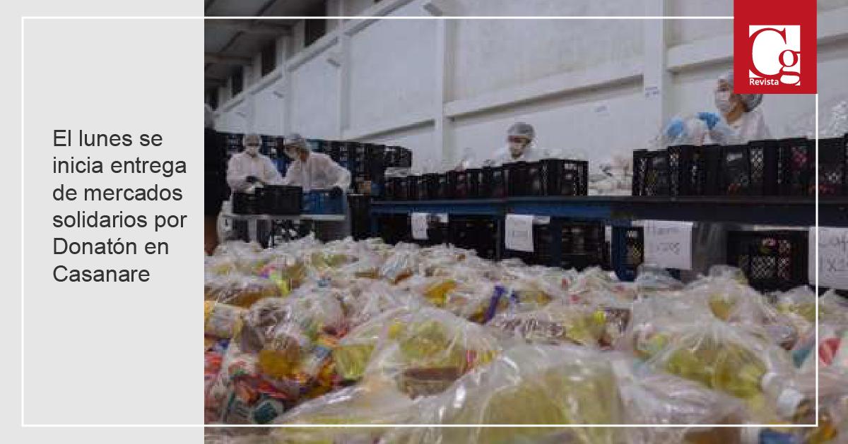 El lunes se inicia entrega de mercados solidarios por Donatón en Casanare