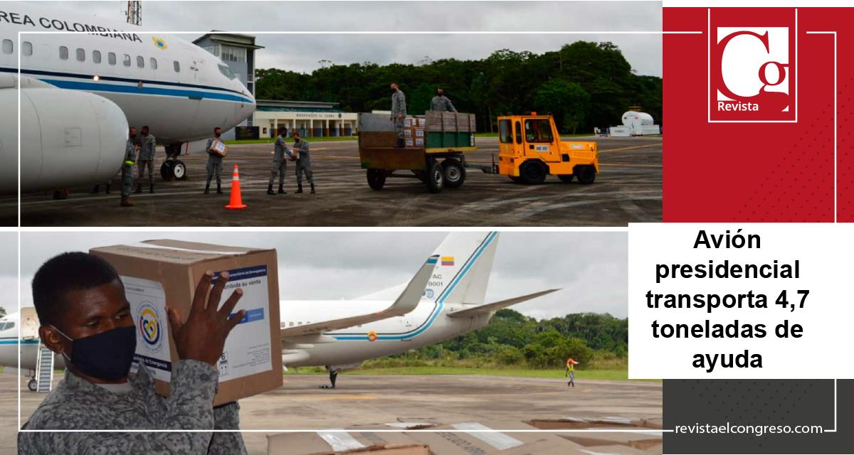 Avión presidencial transporta 4,7 toneladas de ayuda humanitaria al Amazonas