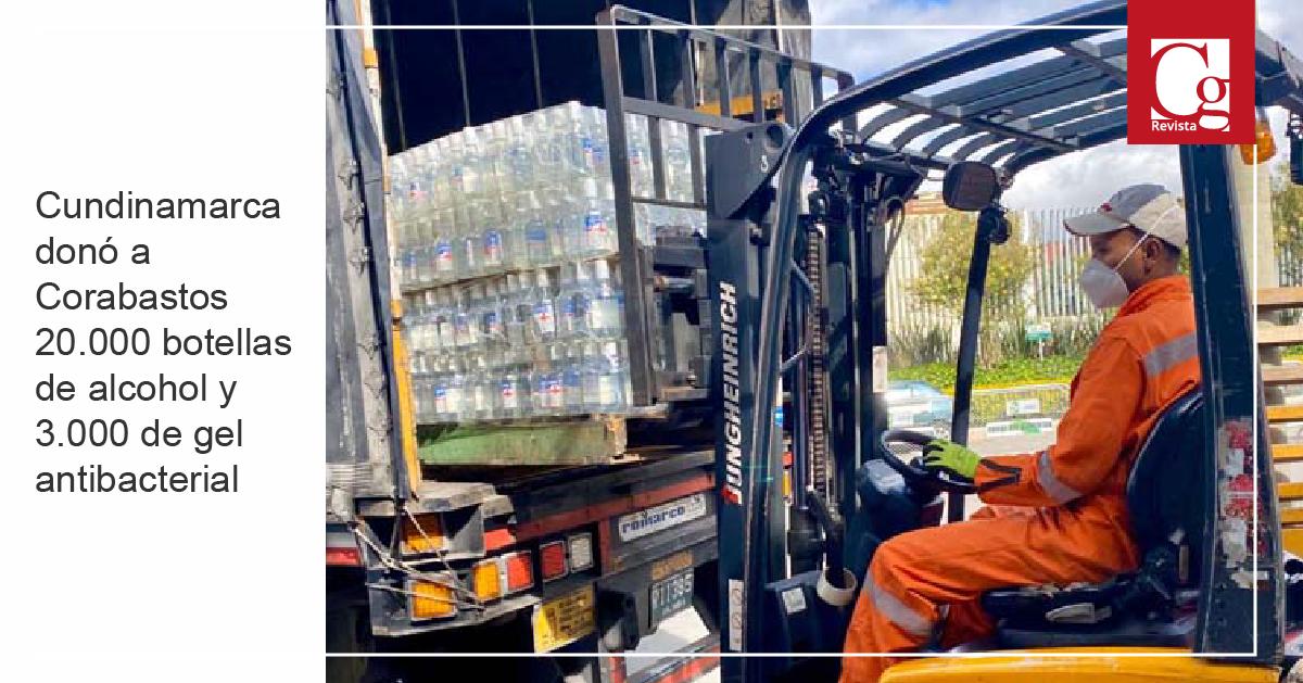 Cundinamarca donó a Corabastos 20.000 botellas de alcohol y 3.000 de gel antibacterial