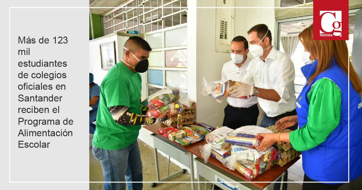 Más de 123 mil estudiantes de colegios oficiales en Santander reciben el Programa de Alimentación Escolar