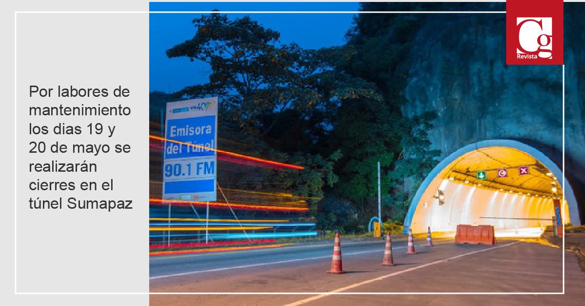 Por labores de mantenimiento los dias 19 y 20 de mayo se realizarán cierres en el túnel Sumapaz