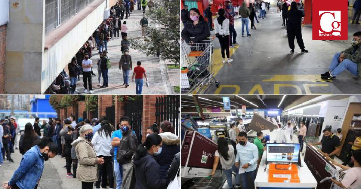 En el Día sin IVA, se observan multitudinarias filas para ingreso a establecimientos comerciales