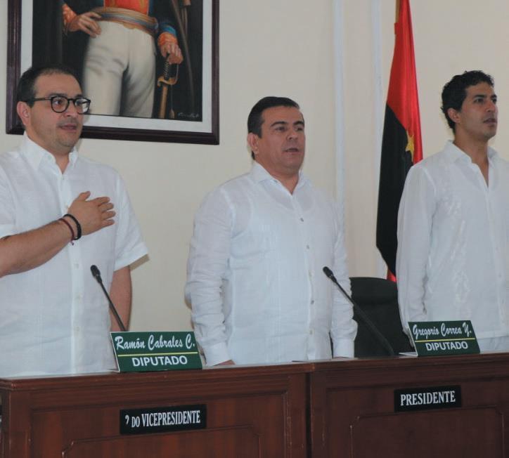 Clausura del primer período de sesiones ordinarias. (Der-Izq) Gobernador de Norte de Santander, Silvano Serrano, Presidente de la Asamblea, José Gregorio Correa y primer vicepresidente, diputado John Edinson Ortega