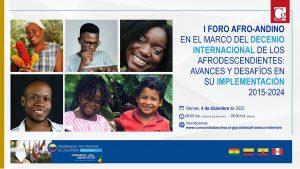Foro Afroandino se realizará este viernes 4 de diciembre